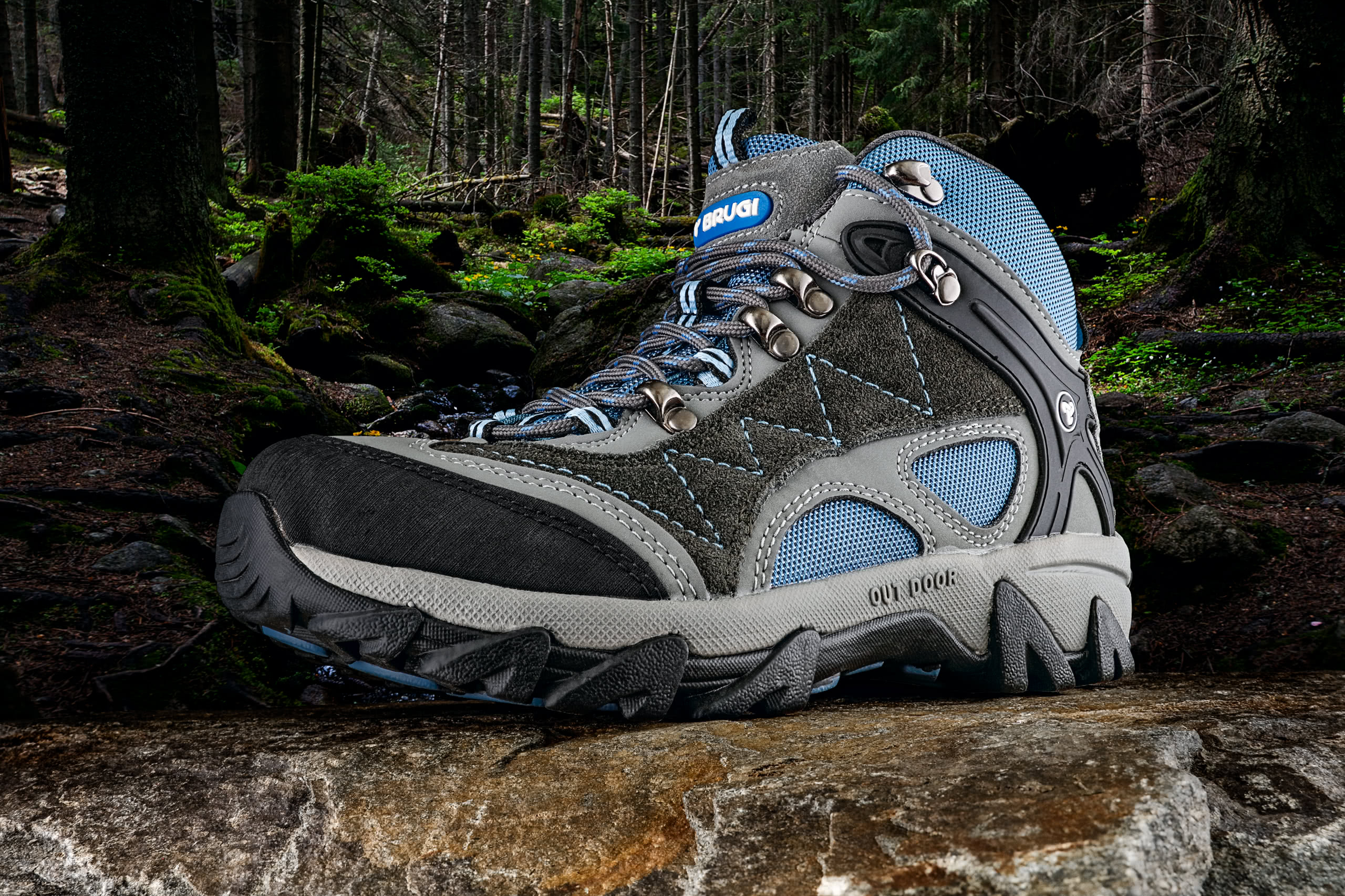 hiking footwear product photography